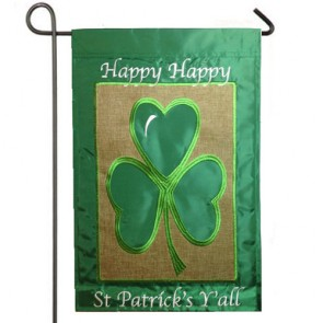 Happy St Patrick's Day Burlap Garden Flag